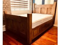 """Bespoke """"The Georgian Panel Plank Bed"""", double sized with bottom drawers."""