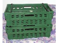 2x Plastic Supermarket Crates/Grocery Boxes large storage for home or garden