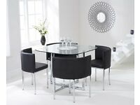 Modern Glass Stowaway Table and 4 Chairs