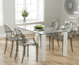 Modern 150cm White Glass table and 6 chairs