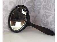 Victorian Ebony Beveled Glass Hand Mirror