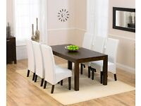 Modern Solid Dark Oak 180cm Table and 6 White Chairs