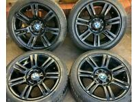 BMW 3 series M Sport 17 inch Black Alloy Wheels 5 x 120 Genuine Staggered E90 Style 194m
