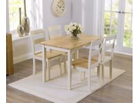 Solid oak 115cm Cream/Oak table and 4 Chairs