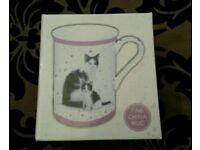 Brand New in Box Macneil Studio Black & White Cat with Kitten China Mug Leonardo Collection