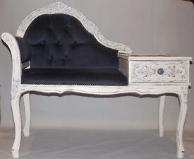 Hand painted white french style chair and table with blue and silver detailing