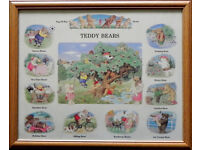 Nursery/childs bedroom teddy Bears framed Picture