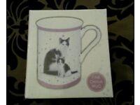 Brand New in Box Macneil Studio Black & White Cat with Kitten China Mug Leonardo Collection