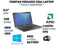 Compaq CQ56 FULLY SERVICED LAPTOP - NEW BATTERY & NEW WINDOWS 10 INSTALLATION - NEW HDD - 4GB RAM