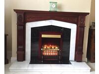 5ft Wooden Fireplace with Black Granite & White Marble complete with electric Fire Heater