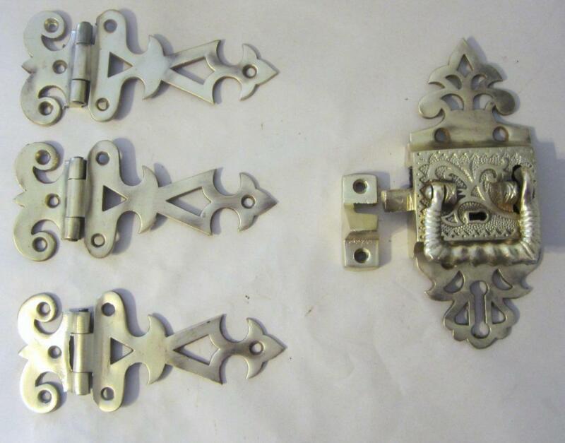 Antique Brass Ornate Ice Box Door Hardware Set