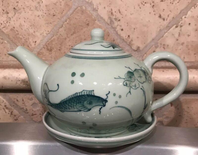Antique Asian Celadon Jade Hand Painted Koi Fish Saucer and Tea Pot, Japanese?