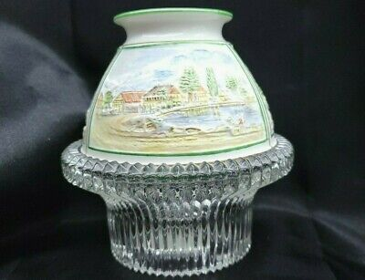 Victorian Three Panel Scenery Lithophane Fairy Lamp/Light EXCELLENT FREE SHIP