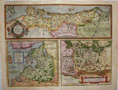 1603 Ortelius 3-Part Map POMERANIA - LATVIA, BALTICS - OSWIECZIM (Auschwitz)