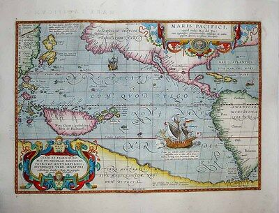 "1603 Ortelius ""Maris Pacifici"" The Iconic Map of the Pacific Ocean, Fine Example"