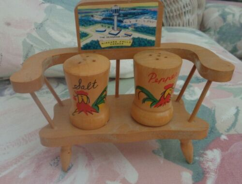 COLLECTIBLE SALT AND PEPPER SHAKER WITH BENCH - NIAGARA FALLS CANADA - 1966