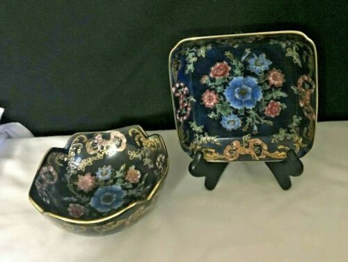 VINTAGE Cloisonné TOYO Charger Plate & Finch Bowl Navy Floral Blue Pink Gift
