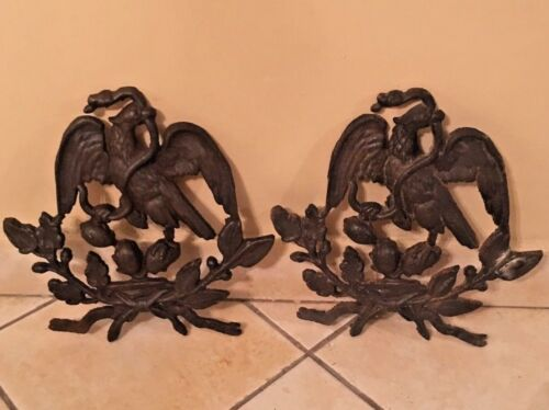 Vintage Mexican Eagle flags  old Mexico flag symbols cast iron