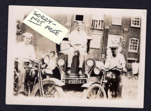 MOTORCYCLE x 2 3 Guys + Automobile VINTAGE 1920