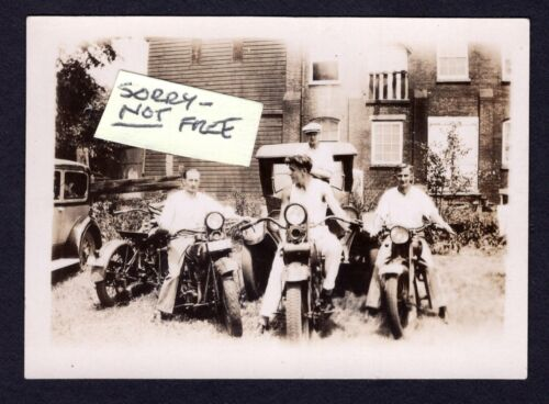 MOTORCYCLE x 4 4 Guys + 2 Automobile VINTAGE 1920