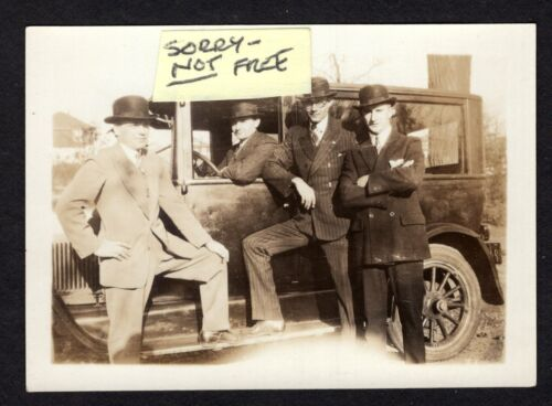Large Automobile 4 Tough Guys Gangsters ? VINTAGE 1920