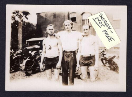 MOTORCYCLE x 4 3 Guys Swimsuit Automobile VINTAGE 1920