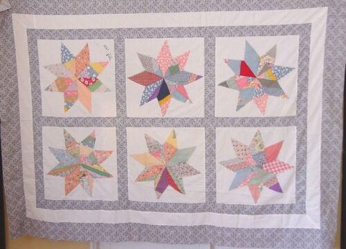 LARGE CRAZY STAR ANTIQUE  QUILT TOP  DATED 1934