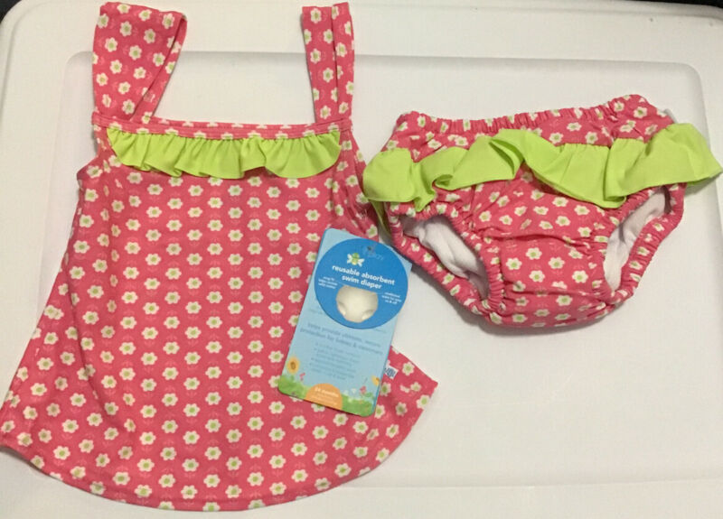 i play Tankini w/ Absorbent Swim Diaper Set Pink Floral Girls Size 24 months NWT