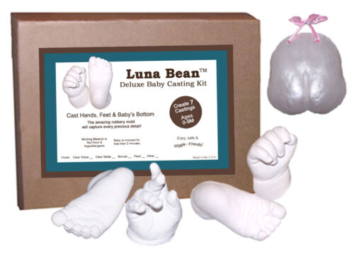 Luna Bean DELUXE INFANT Baby Prints Cast Foot Hand CASTING KIT Makes 7 Castings