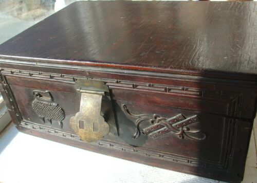Antique Vintage Wood Carved Document Box Scroll Asian Chinese ? Brass Latch