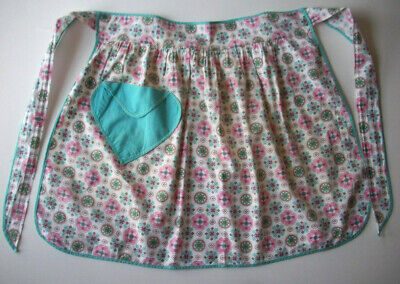 50's 60's  pink & teal with pocket vintage kitchen apron