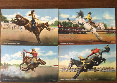 UNUSED LOT OF 4 VINTAGE 1940'S WESTERN RODEO POST CARD BY R R DOUBLEDAY