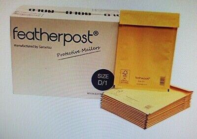 FEATHERPOST - 100 x GOLD QUALITY BUBBLEWRAP ENVELOPES - D1 SIZE ONLY