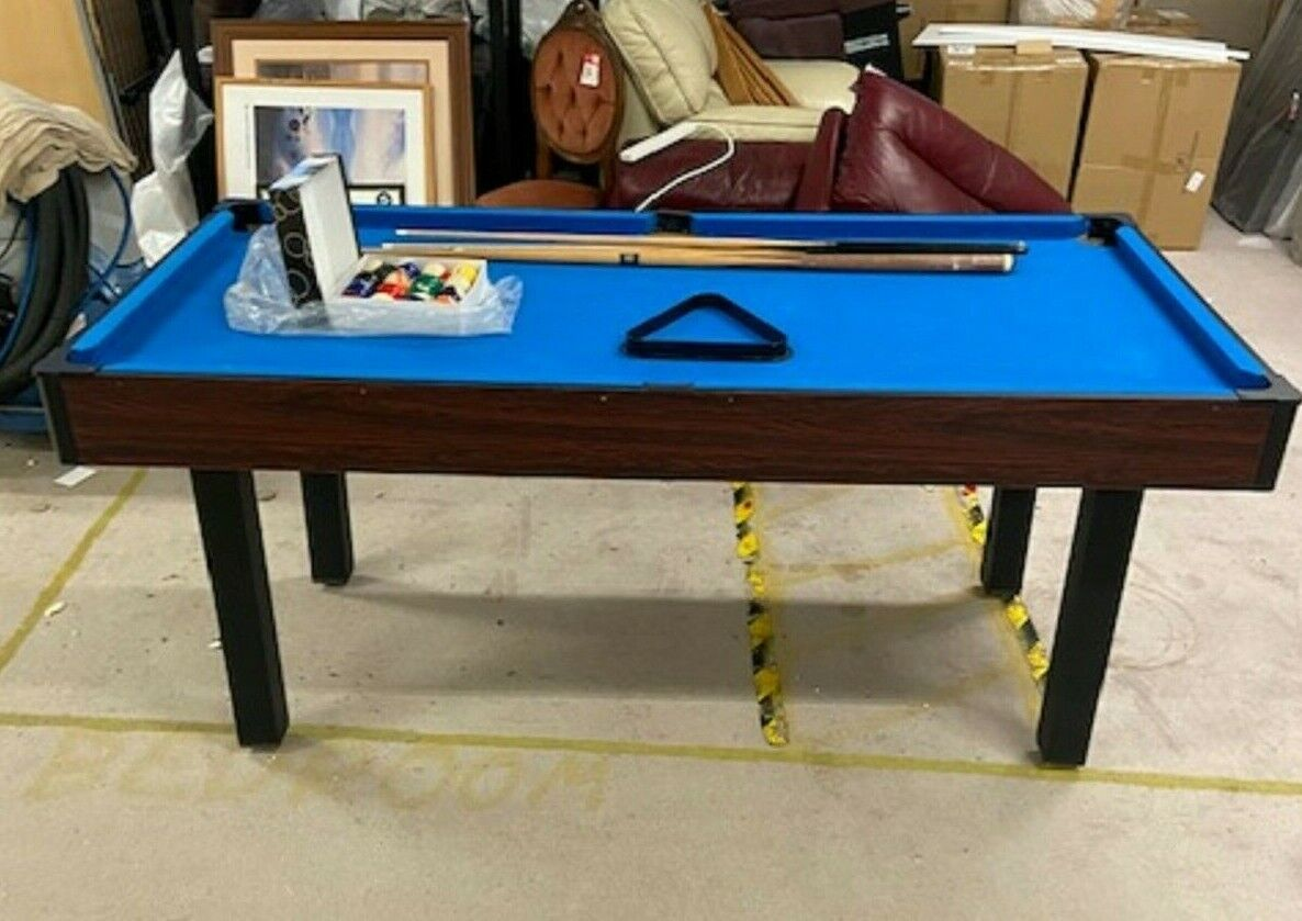 ARGOS 2 in 1 Snooker Pool Table With Cues, Balls, Rackets, Net and More - CS G27