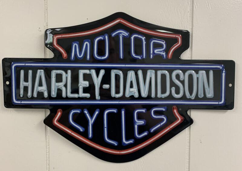 "Ande Rooney HARLEY DAVIDSON ""NEON LIGHTS"" Tin HD Garage Sign"