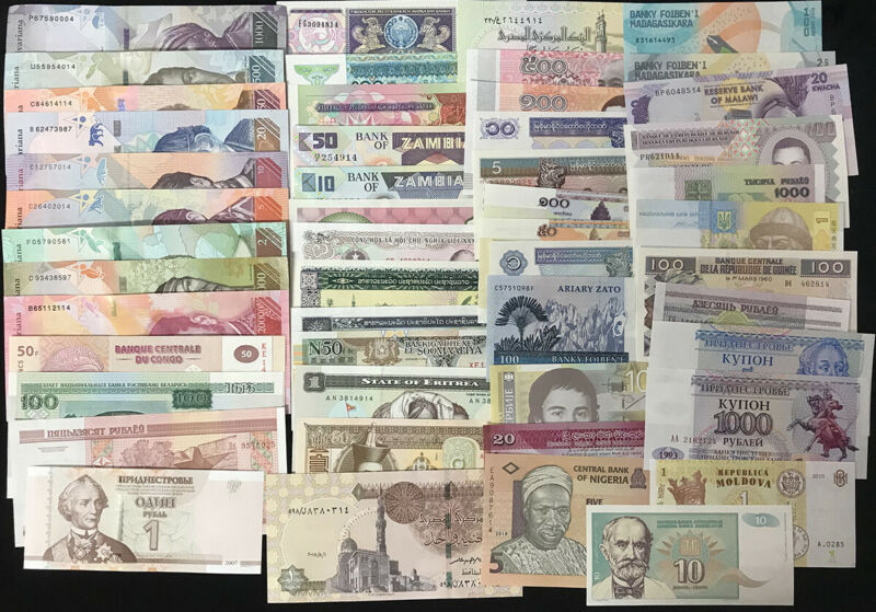 World Banknotes Lot Set 50 Pcs From 27 Countries All UNC