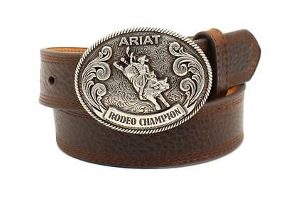- Ariat Western Boys Belt Kids Leather Classic Bull Rider Buckle Brown A1305802