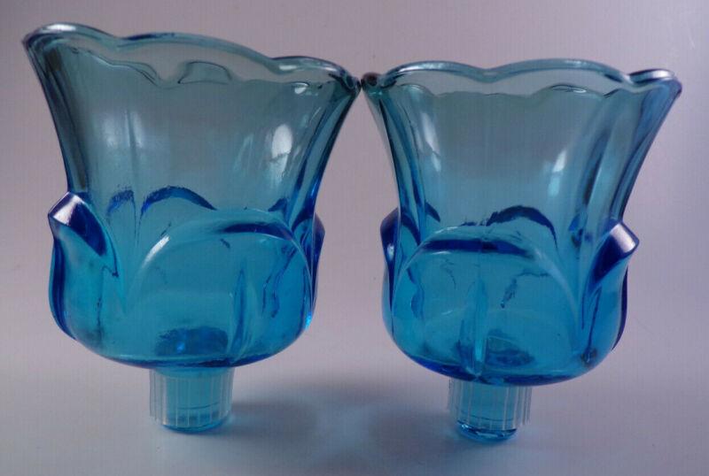 2 Vintage Blue Glass Peg Votive Candle Holder Cups Tulip