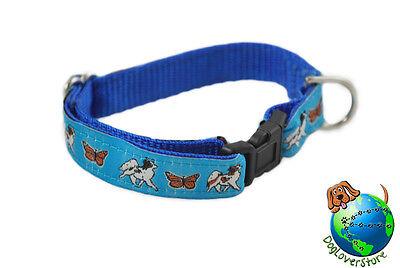 Papillon Dog Breed Adjustable Nylon Collar Small 7-11″ Blue