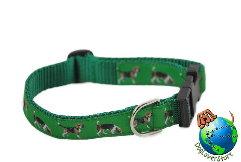 "Beagle Adjustable Collar Medium 10-16"" Green"