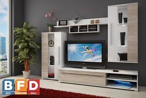 Modern Living room Furniture Set with LED TV Unit Stand Wall Cabinet Cupboard