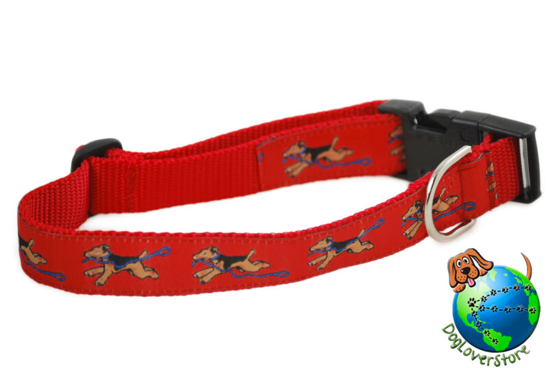 "Airedale Adjustable Collar Large 12-20"" Red"