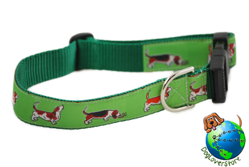 "Basset Hound Adjustable Collar Large 12-20"" Green"