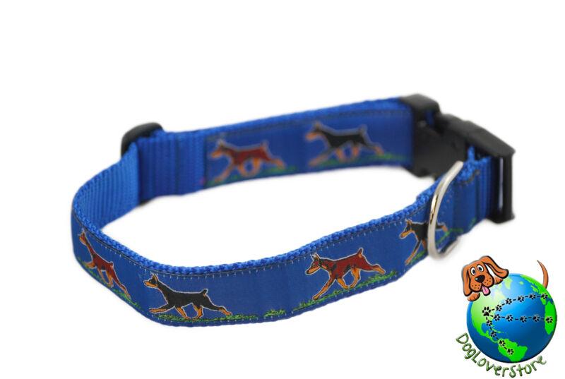 "Doberman Pinscher Adjustable Collar Large 12-20"" Blue"