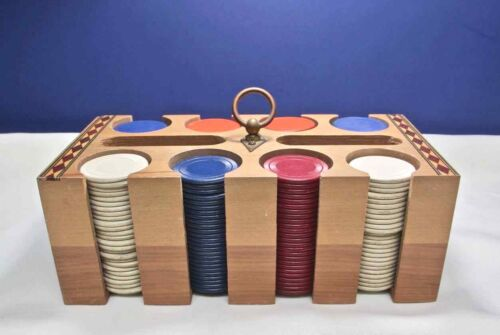 Vintage WOOD POKER CHIPS RACK w COVER Inlay Design RED BLUE WHITE CHIPS Cards