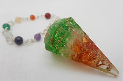 Orgone Pendulum with Chakra Stones Divination Reiki Healing Dowsing