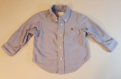 Ralph Lauren Blue Oxfordcloth Long Sleeve Shirt Boys 12 mo.EUC