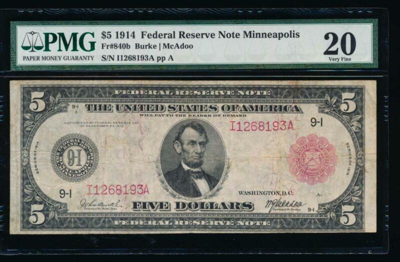 AC Fr 840b 1914 $5 Minneapolis FRN red seal PMG 20