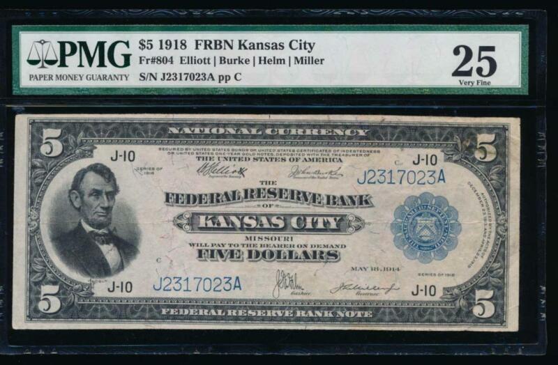 AC Fr 804 1918 $5 FRBN Kansas City PMG 25 comment