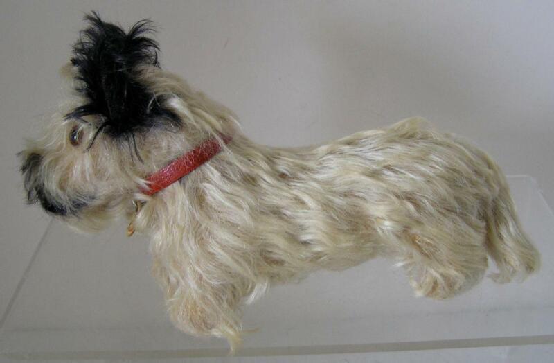 Vintage 1925 Steiff Skye-Terrier Mohair Dog with original Collar  FF button RARE